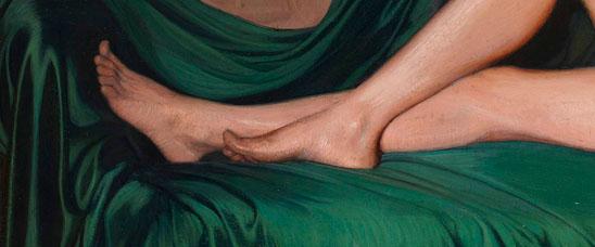 Detalle de Madame Souty reclinada en un sofá, de Ignacio Zuloaga, nuevo récord mundial del artista, obtenido en Sotheby's