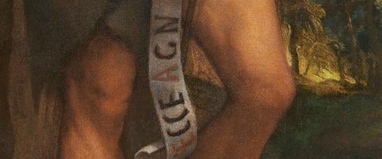 Detalle del San Juan Bauitsta de Tiziano del Museo del Prado tras su reciente restauración