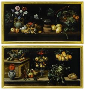 De Juan de Espinosa, de la colección Fórum Filatélico, se vendió en Sotheby's Londres esta pareja de bodegones: Still life with fruit, sweets, flowers and a winecooler, y Still life with fruit, cauliflower, bread and vessels por 134.500 libras (162.047 euros)