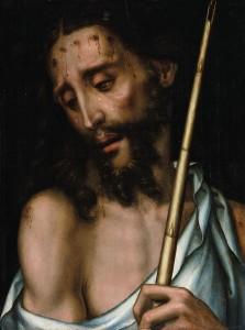 Típico Ecce Homo de Luis de Morales, de la colección Fórum Filatélico. A pesar de sus reducidas dimensiones, fue comprado en julio de 2002 en Christie's Londres por 59.750 libras (93.156 euros) y se vendió en Sotheby's Londres por 170.500 libras (205.419 euros)