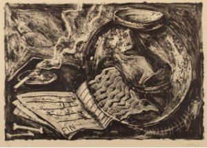 Miquel Barceló, Bocal a poisson (pecera y libro), 1985