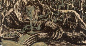 Miquel Barceló, Jeune home ivre dans bar, 1983, detail