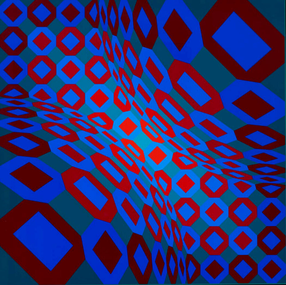 Victor Vasarely, Composition on blue, green and red