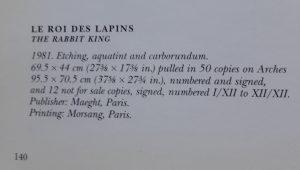 Joan Miró. Le roi des lapins, El rey de los conejos, 1981, edition