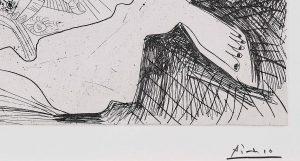 Pablo Picasso. La chute d'Icaro, 1972, signature