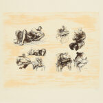 Henry Moore. Eight sculptural ideas, girl writing, 1973