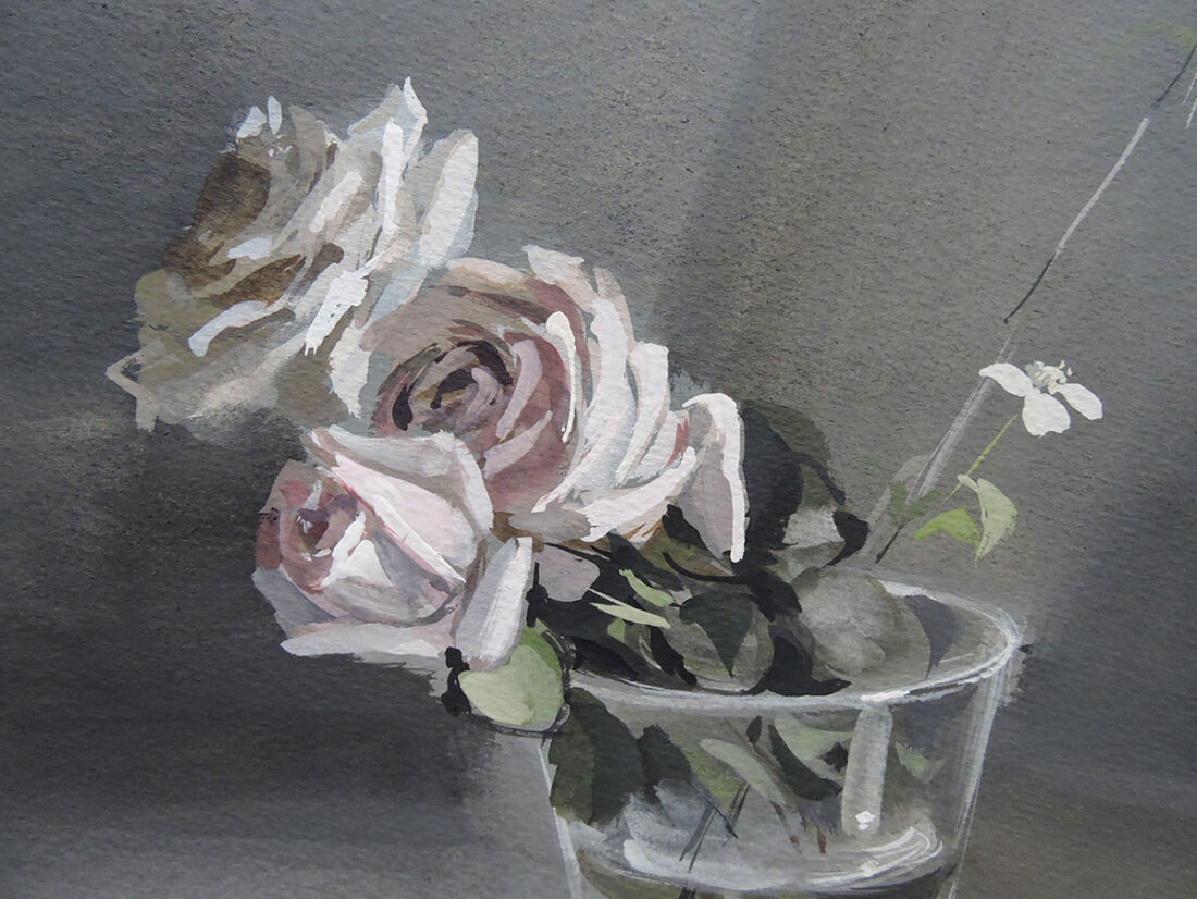 Ramón Gaya, Bodegón de jarra y vaso de cristal con rosa, 1944, detalle 2