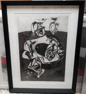 Juan Barjola, Caída del caballo, 1994, framed