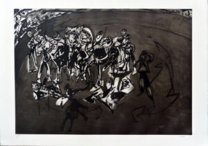 Juan Barjola, Tauromaquia, caída del monosabio, 1994