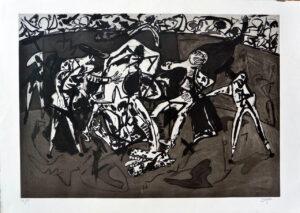 Juan Barjola, Tauromaquia, caída y cogida, 1994