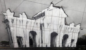 Christo and Jeanne-Claude, Puerta de Alcalá, wrapped project for Madrid, 1981, detail 1