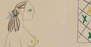 Pablo Picasso, Le peintre masqué et son modèle, 1954, detail 1