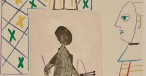 Pablo Picasso, Le peintre masqué et son modèle, 1954, detail 2