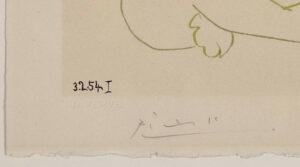 Pablo Picasso, Le peintre masqué et son modèle, 1954, signature, date and watermark