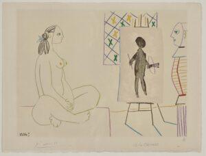 Pablo Picasso, Le peintre masqué et son modèle, 1954